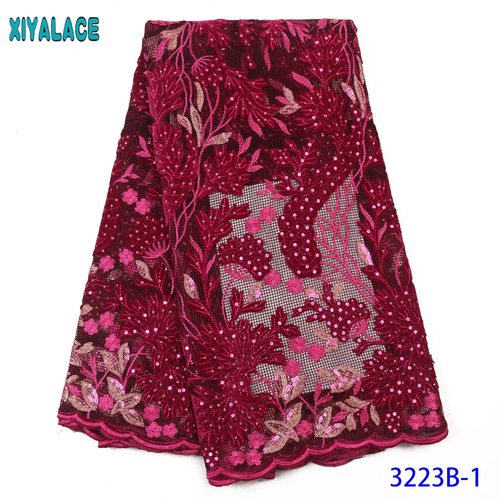 New Sequin Lace Fabric 2020 Velvet Lace Fabric Nigerian Tulle Net Fabrics Laces With Sequences For Women Dresses KS3223B