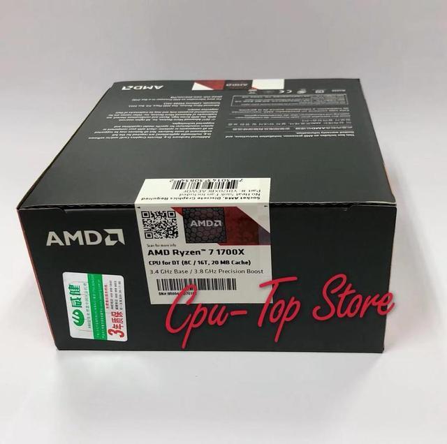새로운 오리지널 박스 amd ryzen 7 1700x r7 1700x3.4 ghz 8 코어 cpu 프로세서 yd170xbcm88ae 소켓 am4 쿨러 팬 없음