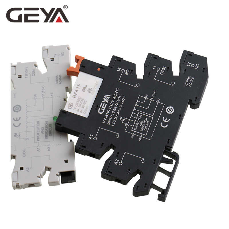 DIN Rail Slim Modul HF-41F Terintegrasi PCB Power Relay dengan Relay Holder 12V 24VO 230V Relay soket 6.2 Mm