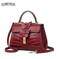 SUWERER Women Genuine Leather handbags real cowhide bag fashion luxury handbags women bags designer crossbody bags for women