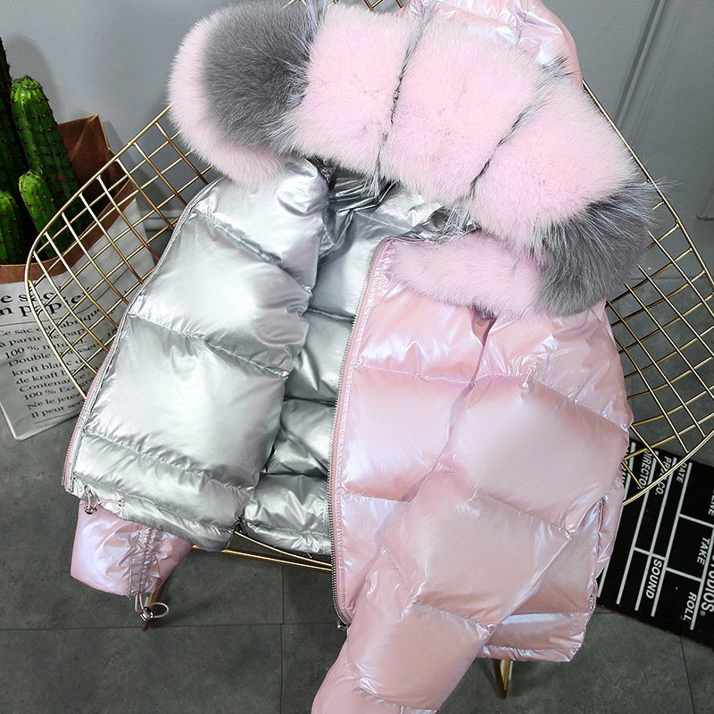 Real Fur Collar Loose Winter Down Coat Women Puffer Female Warm Autumn Feather Jacket For Girl Parka Coats Outerwear Raccoon