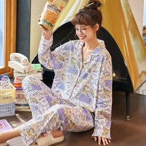 Image 4 - 2019 Vrouwen Pyjama Sets Herfst Winter Nieuwe Vrouwen Pyjama Katoenen Kleding Lange Tops Set Vrouwelijke Pyjama Sets Night Suit Nachtkleding