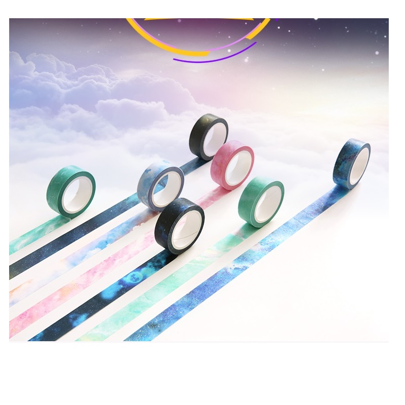 Fantasy Paper Washi Tape 15mm Full New Moon Galaxy Pink Sky Aqua Marble Color Adhesive Masking Tapes Sticker Decoration DIY F187