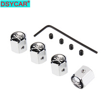 DSYCAR  4Pcs/Set SKULL Style Bike Motorcycle Car Tire Valve Stem Caps For Car/Motorcycle,Air Leakproof , Protection