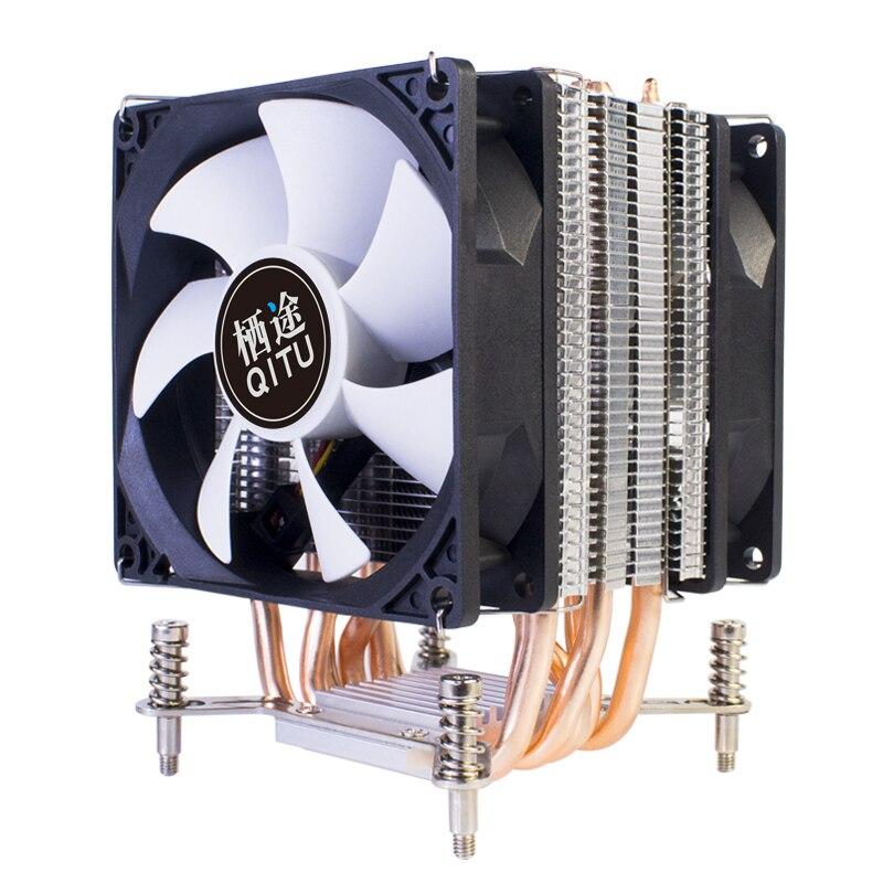 QITU 6 Heat Pipes CPU Cooler 3 Pin 4 Pin PWM 92mm PC quiet Fan  for Intel LGA 2011 2066 E3 E5 X79 X99 X299 9CM CPU Cooling Fan 3