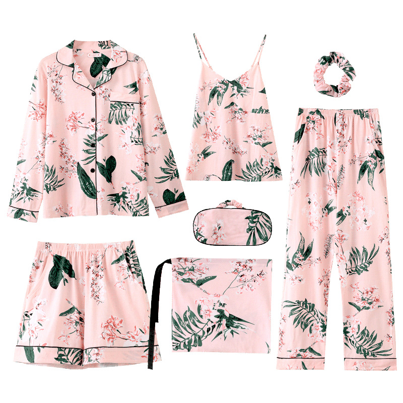 QWEEK Sleep Lounge Princess Style Pajamas Women Cotton Autumn Ladies Pijamas 7 Piece New Leaves Print Pyjamas Women Dropshipping