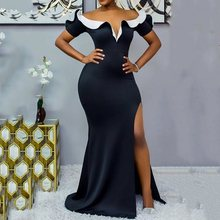 Split Floor-Length Sexy Deep V Color Block Dress Women 2019 Autumn Elegant Party Evening Black Dresses Bodycon Long Robe Vestito недорого