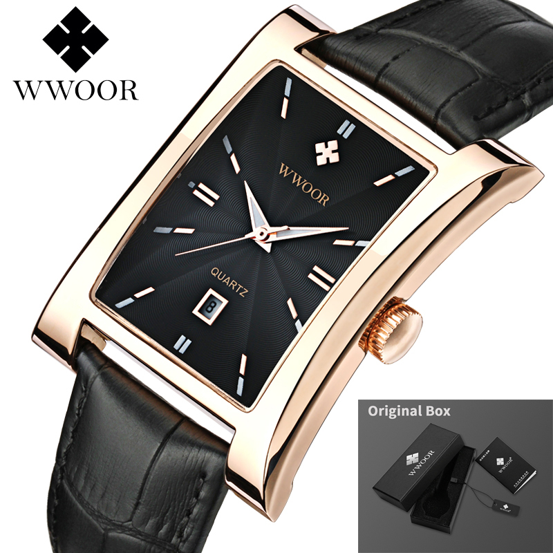 WWOOR Watch Men Top Brand Luxury Gold Black Square Watches For Men Leather Waterproof Date Clock Business Quartz Wrist Watch Box 2