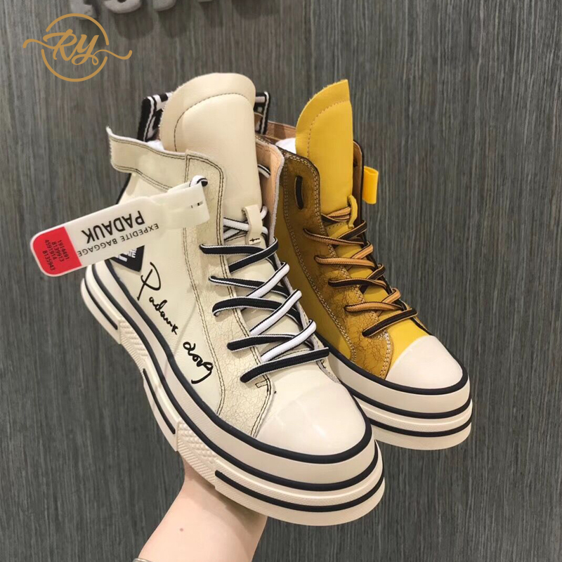 RY-RELAA Womens Sneakers Shoes 2018 Fashion Genuine Leather INS Style Platform Sneakers Casual Shoes Women High Top Sneakers