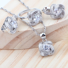 Cubic Zirconia Silver 925 Bridal Jewelry Sets Wedding Kid Jewelry Earrings Rings Necklace Pendant Set For Women Accessories