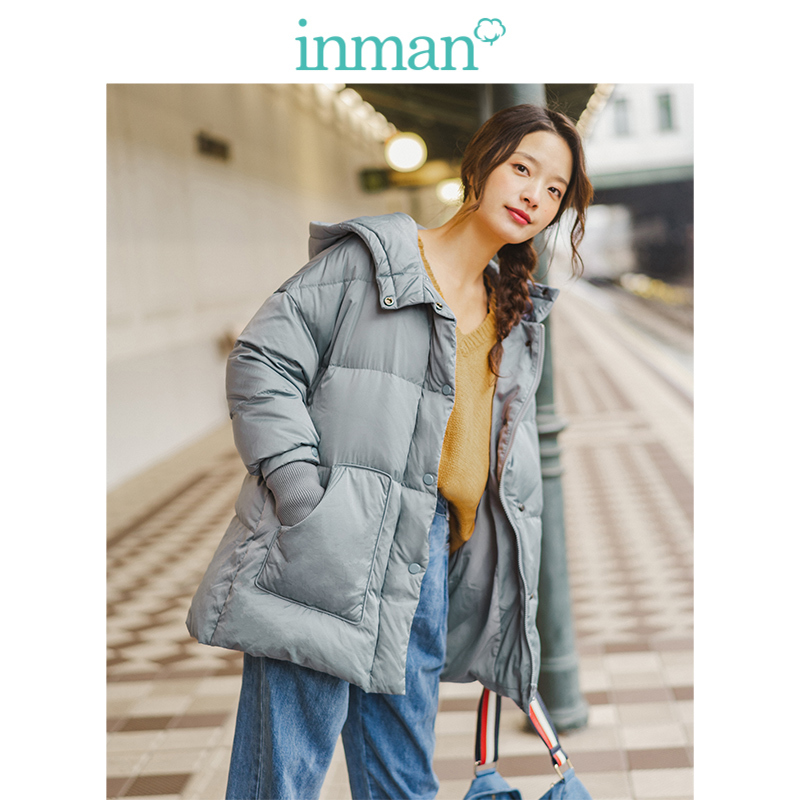 INMAN 2019 Winter New Arrival Minimalism All Matched Stand up Collar Solid Fashion Thin Warm Women Short   Down     Coat