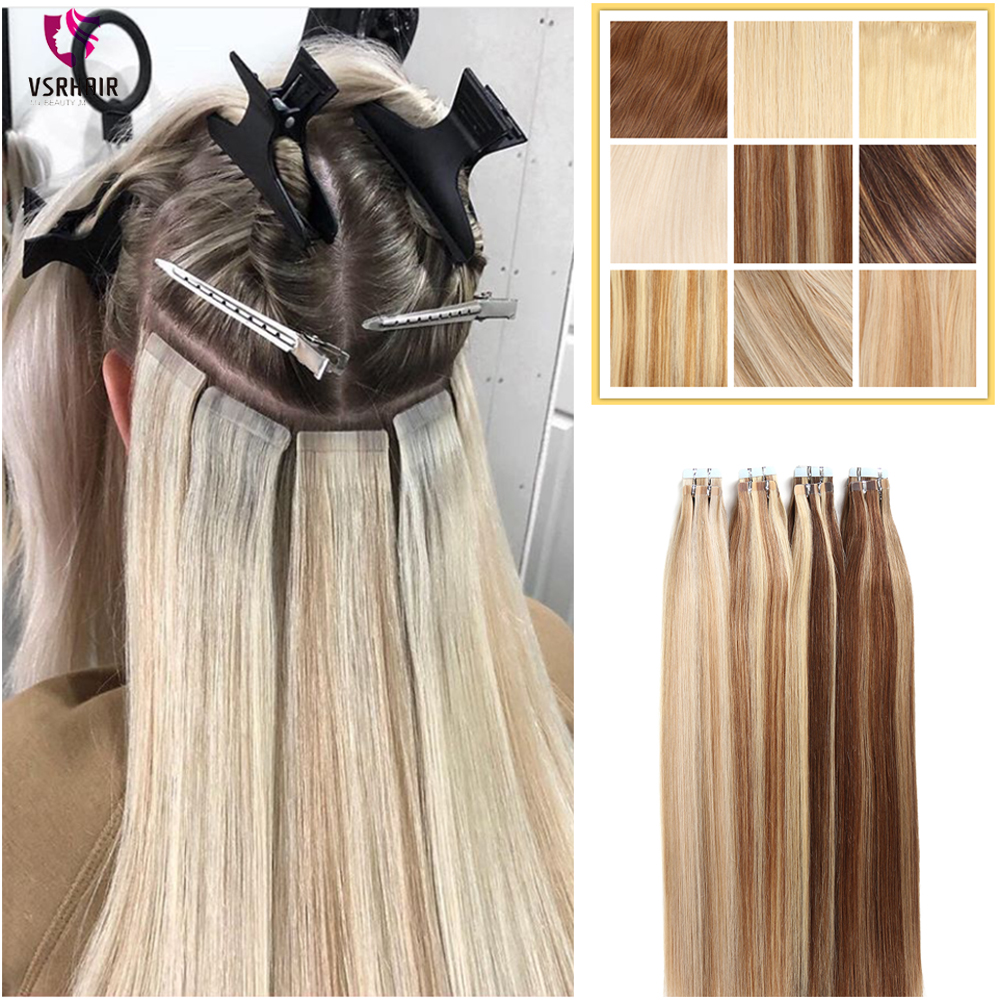 VSR лента для волос пианино цвета 50 см 60 см волосы для наращивания сильный клей 2 г 2,5 г человеческие волосы машина Remy толстые концы стиль ленты...