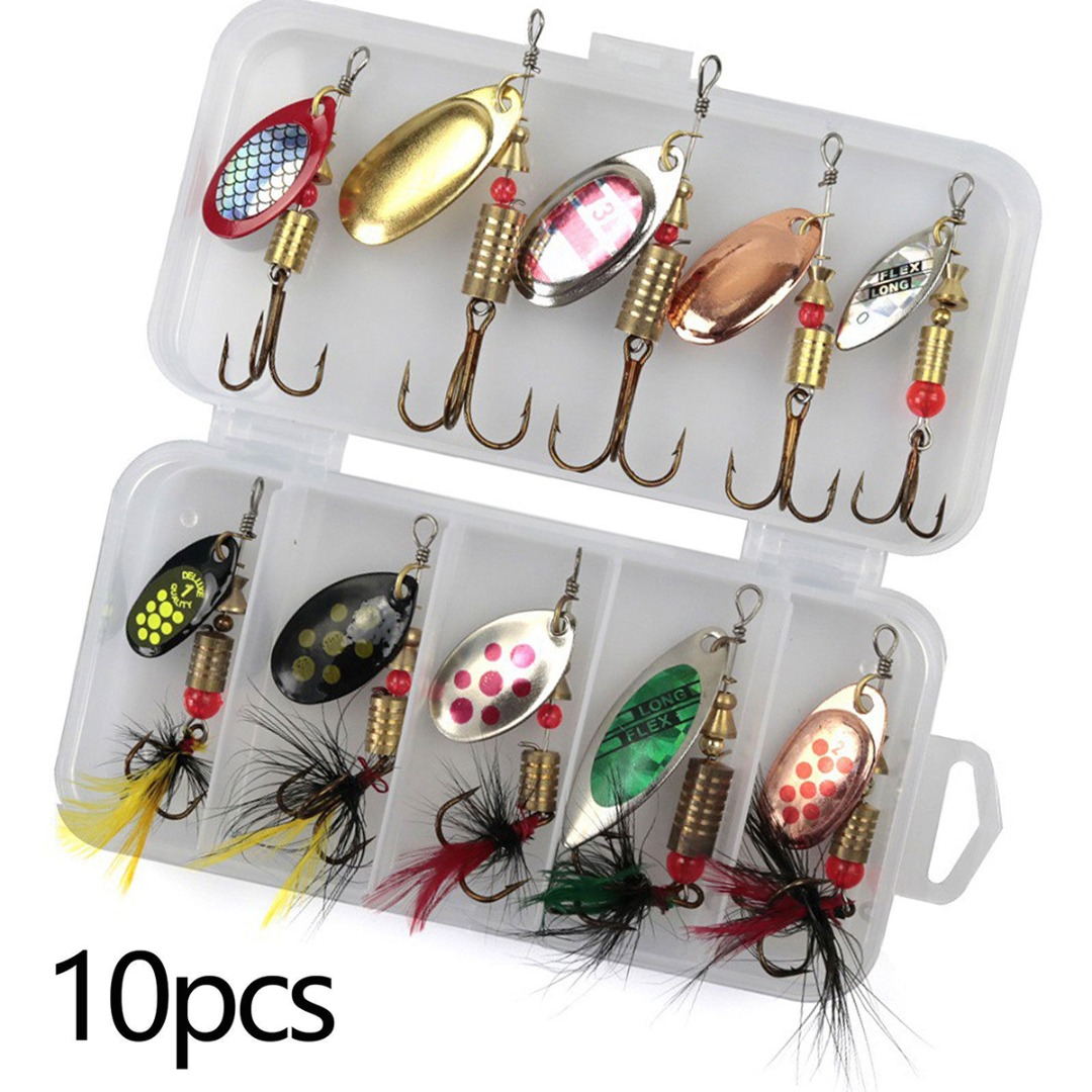 10Pcs/set Metal Fishing Lures Hook Spinner Rotating Metal Sequins with Box Suitable for Fishing Trout/Salmon/Pike/Perch|Fishing Lures| |  - title=