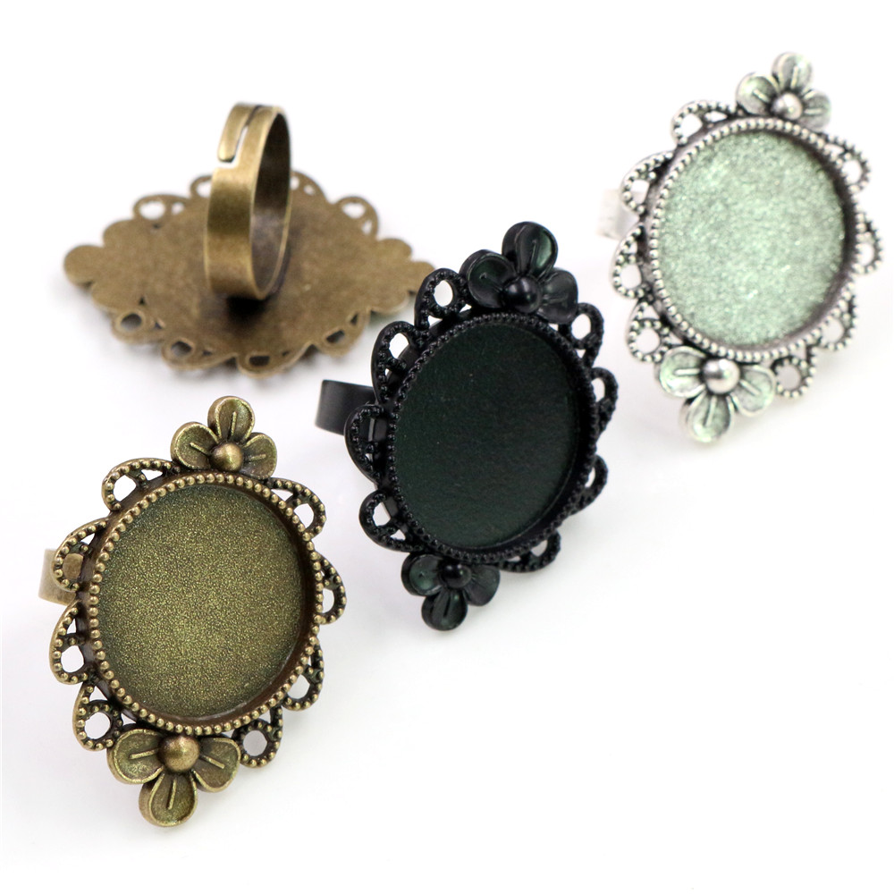 20mm 5pcs 3 Fashion Colors Plated Brass Adjustable Ring Settings Blank/Base,Fit 20mm Glass Cabochons,Buttons;Ring Bezels