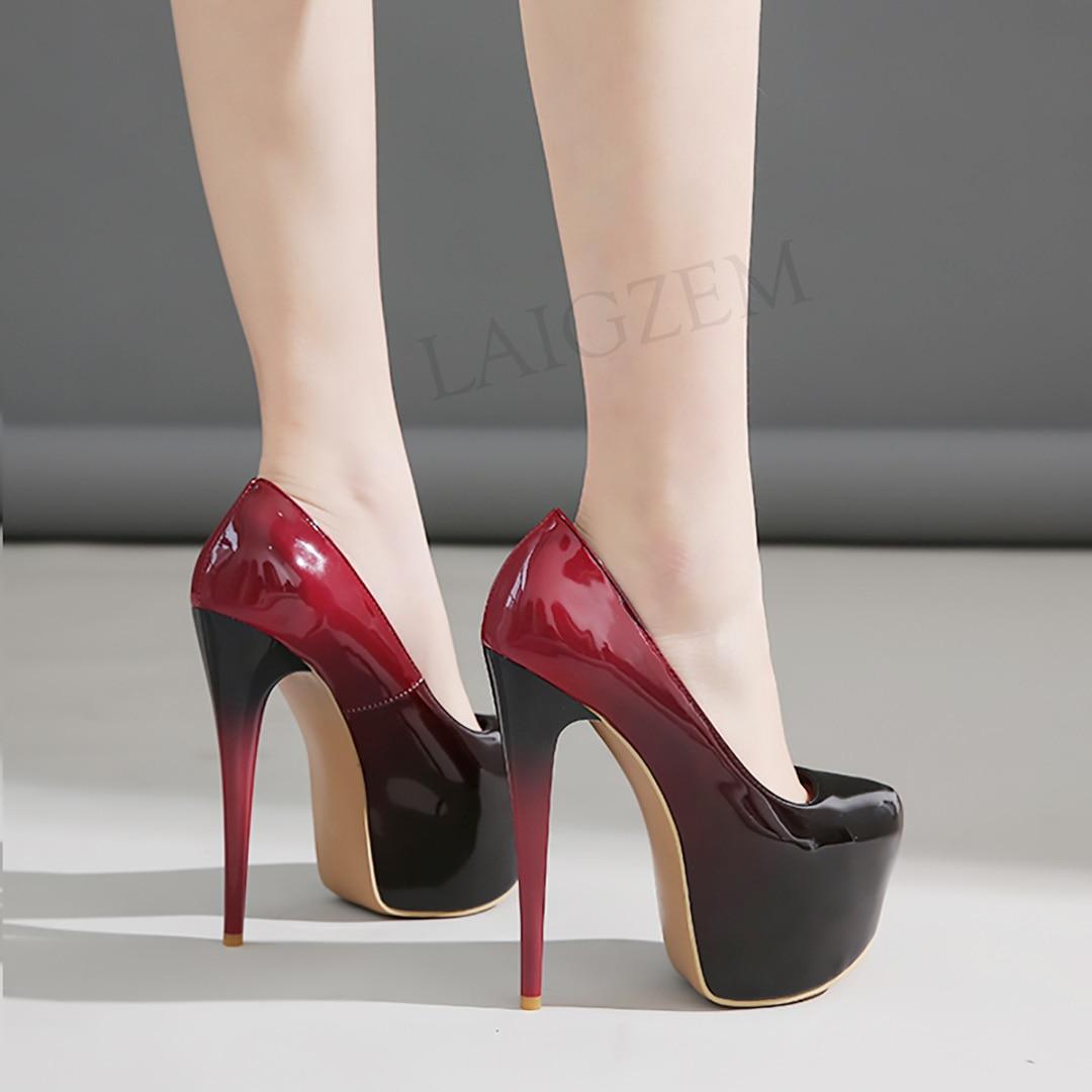 LAIGZEM Women Platform Heels Pumps Gradient Colors Stiletto Heels Patent Club Zapatos Mujer Sandals Shoes Woman Large Size 47 50
