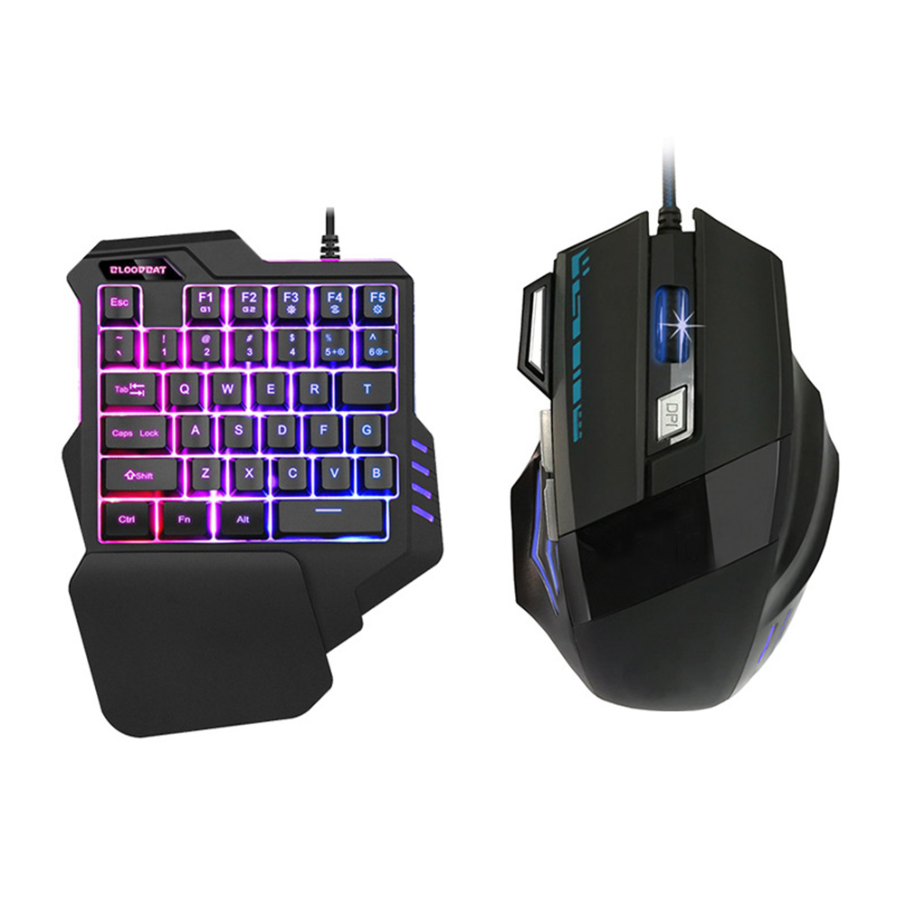 Home Ergonomic Keyboard Mouse Set For PC Laptop Sensitive ABS Smooth Stylish Wired Backlight Single Hand Gaming Office|Keyboard Mouse Combos| |  - title=