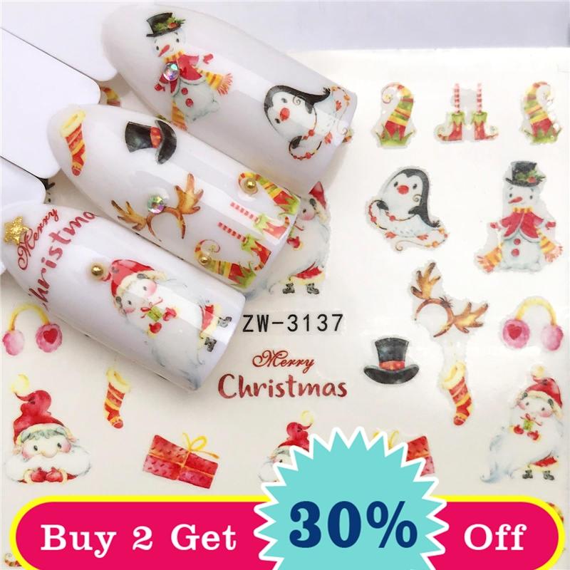 Ywk 1 folha adesivos de unhas transferência de água adesivo boneco de neve/ano novo presente da arte do prego slider manicure decoração