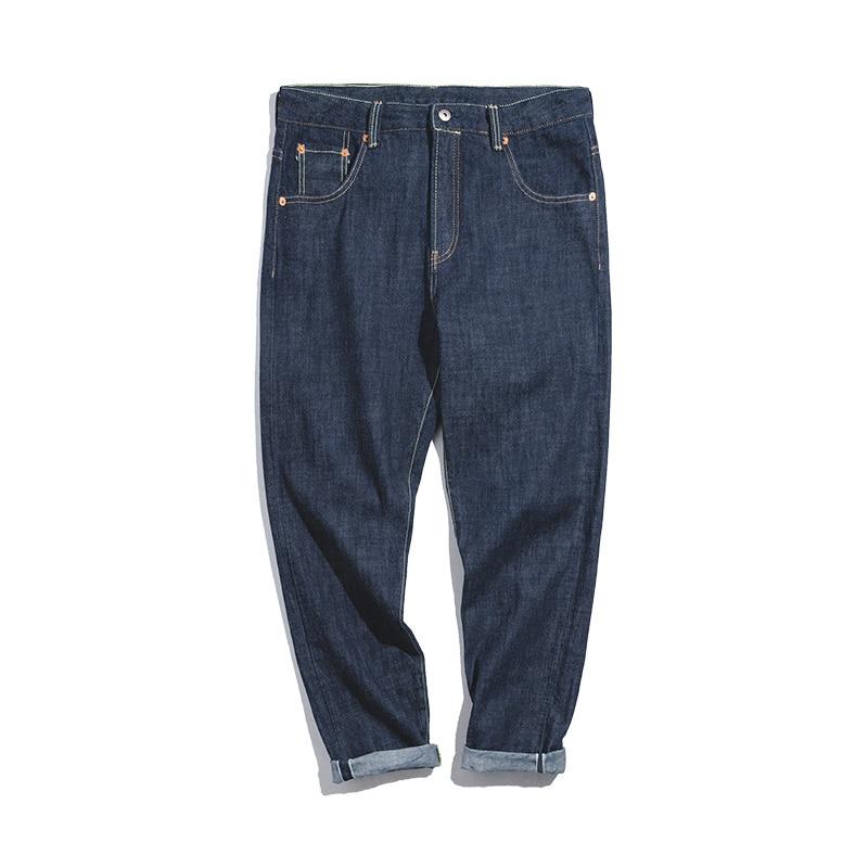 Maden Men's 14.8oz Regular Straight Fit Raw Selvedge Denim Jeans Fashionable Jeans Dark Blue