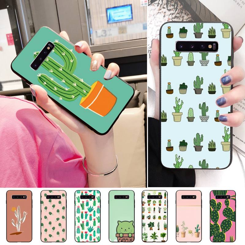OriginalLovely cactus Phone <font><b>Case</b></font> For <font><b>Samsung</b></font> A71 J2 <font><b>J200</b></font> J4 Note5 8 9 10 CaseBlack Tpu Phone <font><b>Case</b></font> Coque image