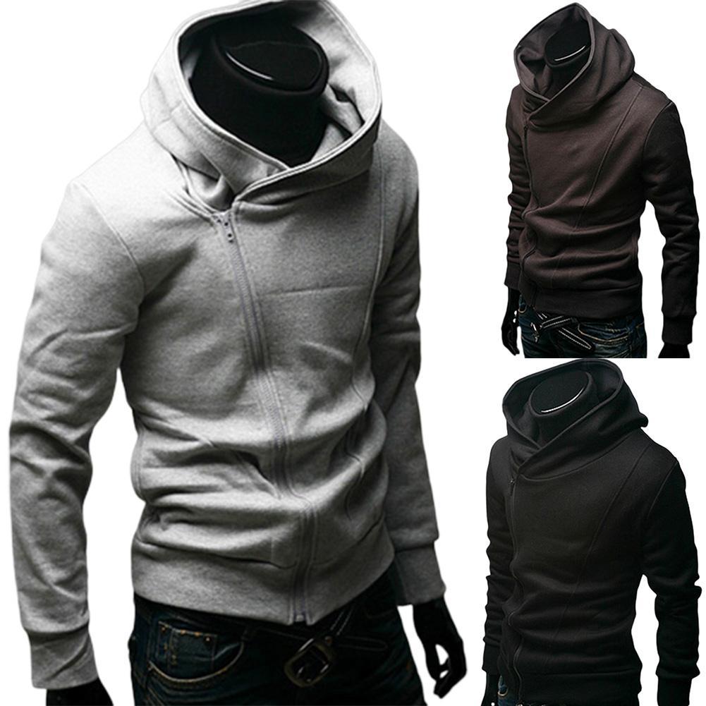 2019 Gray/Black Sweatshirt Mens Fall Zip Up Hoodie Hoody Jacket Sweatshirt Casual Gym Hooded Coats Top Outwear