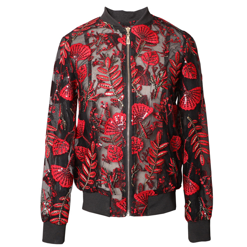 Embroidery Red Leaf Mesh Jacket Women Coat Spring 2020 Luxury Long Sleeve See Through Sequin Summer Baseball Jackets Coats