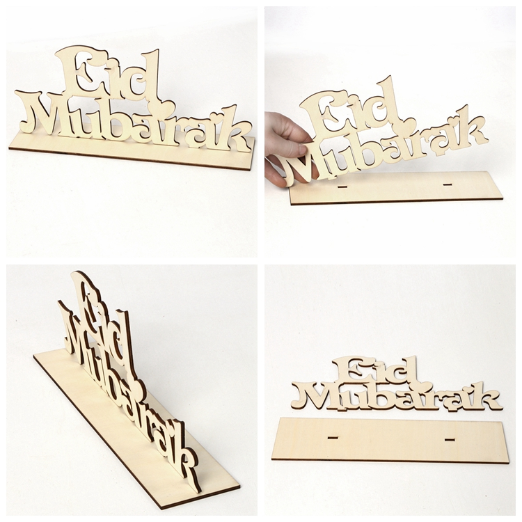 CHZLL Wooden Plaque Hanging Ornaments Eid Mubarak Eid Mubarak Decoration Accessories Ramadan Decor Islam Pendants Party Supplies
