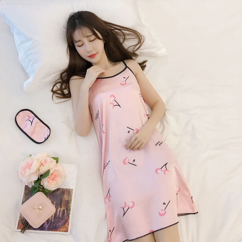 Nightgown Women's Xia Bing Silk Slip Nightdress Summer Imitated Silk Fabric Nightgown Women's Xia Bing Silk Slip Nightdress M -X