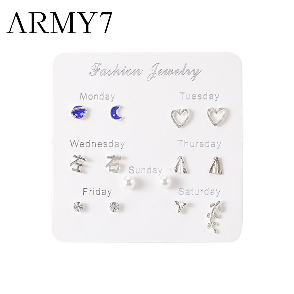 Koreańska gwiazda księżyc serce z cyrkoni kolczyki 7 par prosty zestaw podróżny perła kolczyk na wtyk kolczyki Temperament modne ozdoby jubilerskie
