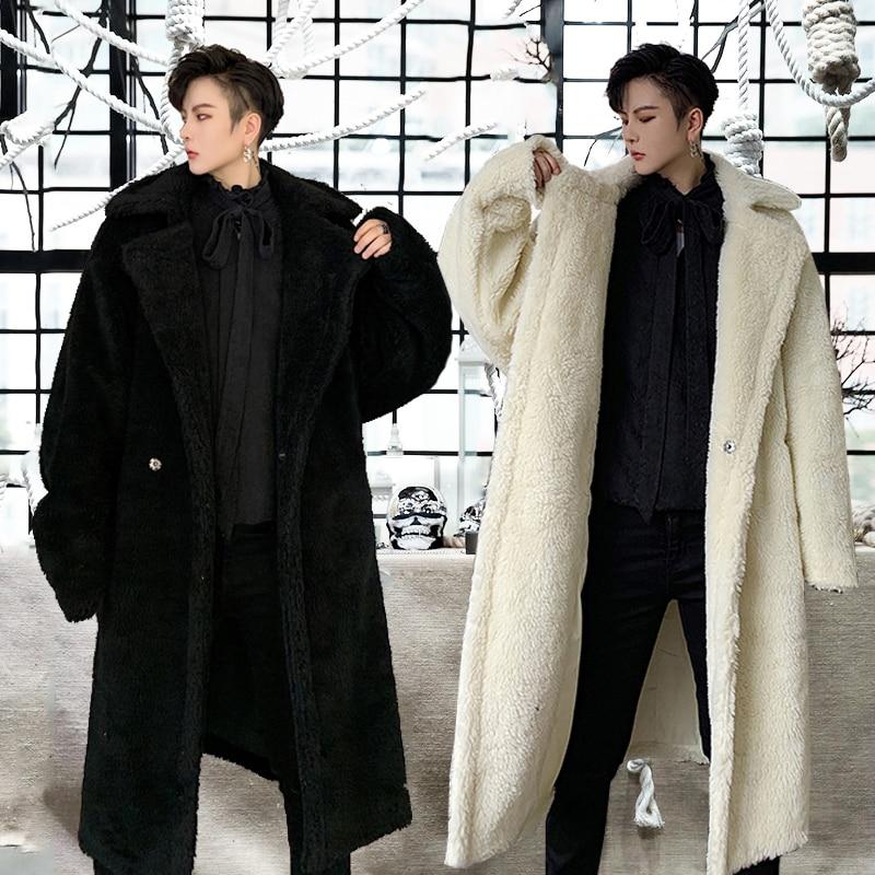 Winter Mens Overcoat Long Coat Thick Warm Cashmere Blend Black White Loose Men Coats K098