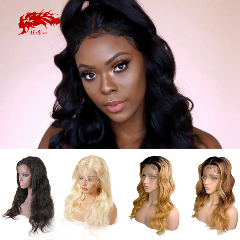 Body Wave 13x6 Lace Front Wigs Brazilian Remy Hair 130%/150%/180% Density Ali Queen Natural Black/Blonde Human Hair Lace Wig