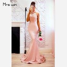 Mrs win Evening Dresses Mermaid Halter Elegant Party Dresses 2020 Sexy Backless Split Hems Long Plus Size Robe De Soiree HR087