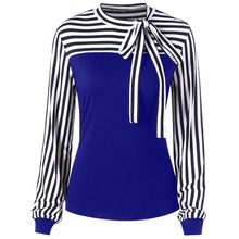ROSE GAL Fashion Women contrasting striped panel Tops bowknot embellished Crew Neck Blouse OL Ladies Shirt Fall Spring(China)