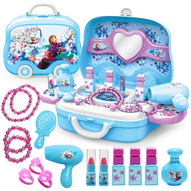 Disney meninas princesa congelado vestir maquiagem brinquedo conjunto crianças brinquedos de beleza simulação das crianças penteadeira moda brinquedos
