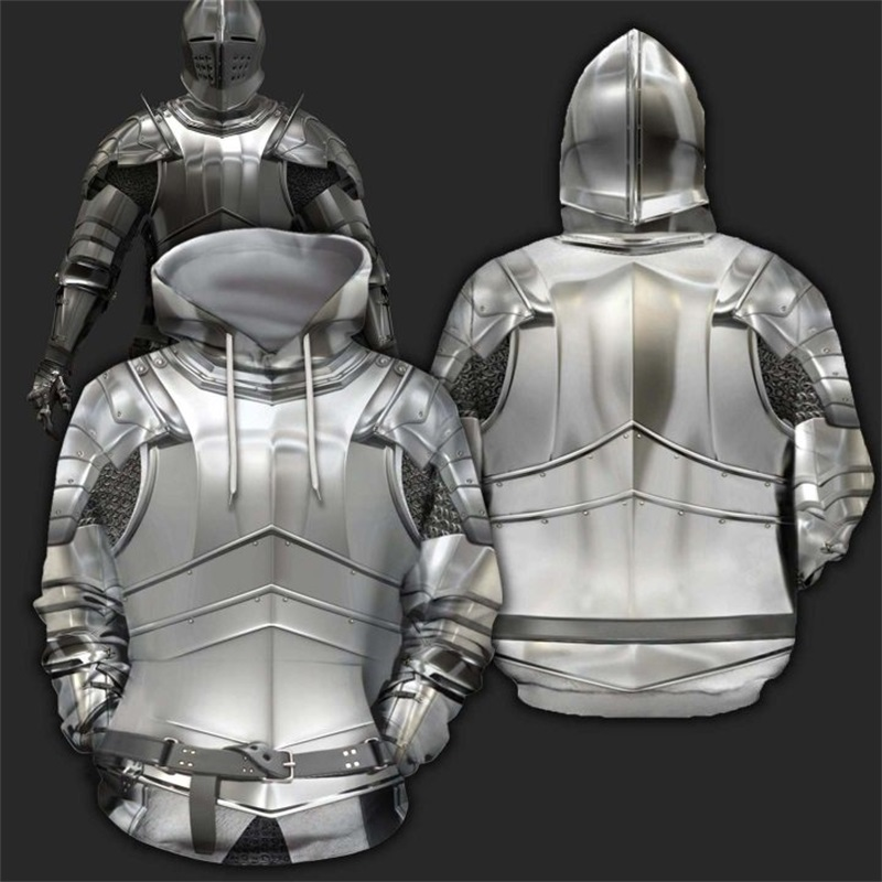 3D All Over Printed Armor Knights Templar Hoodie Harajuku Fashion Hooded Sweatshirt Cosplay Costume Autumn Unisex Hoodies SJ-999