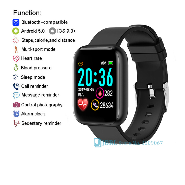 2021 Ladies Sport Bracelet Smart Watch Women Smartwatch Men Smartband Android IOS Waterproof Fitness Tracker Smart Clock Mens 5