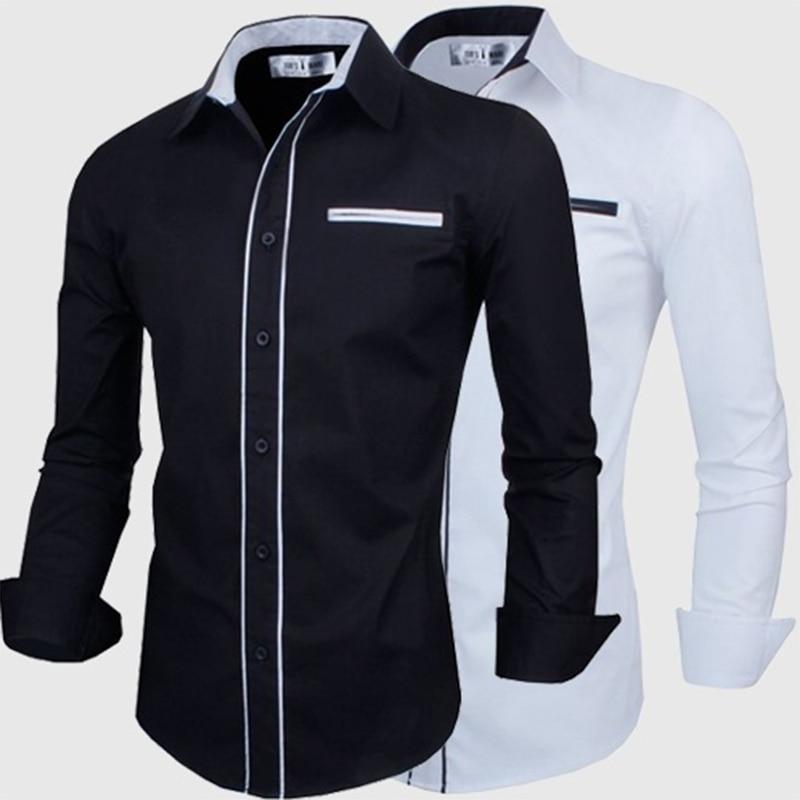 ZOGAA mens dress shirts Business Casual men shirt long sleeve Solid color mens shirts streetwear 2 colours size plus S-2XL shirt