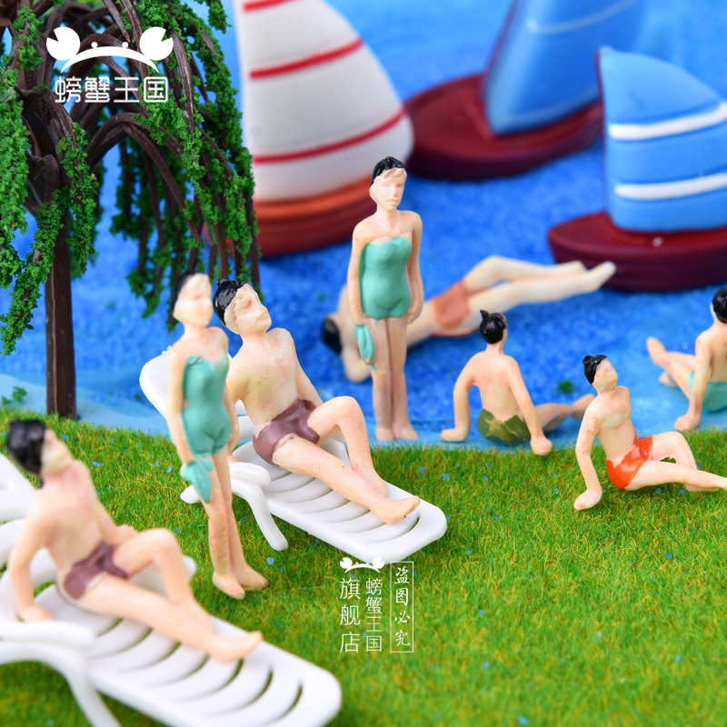 20pcs Painted swimming <font><b>Figures</b></font> HO N Scale 1/75 1/100 1/150 for Model Train layout Beach people image