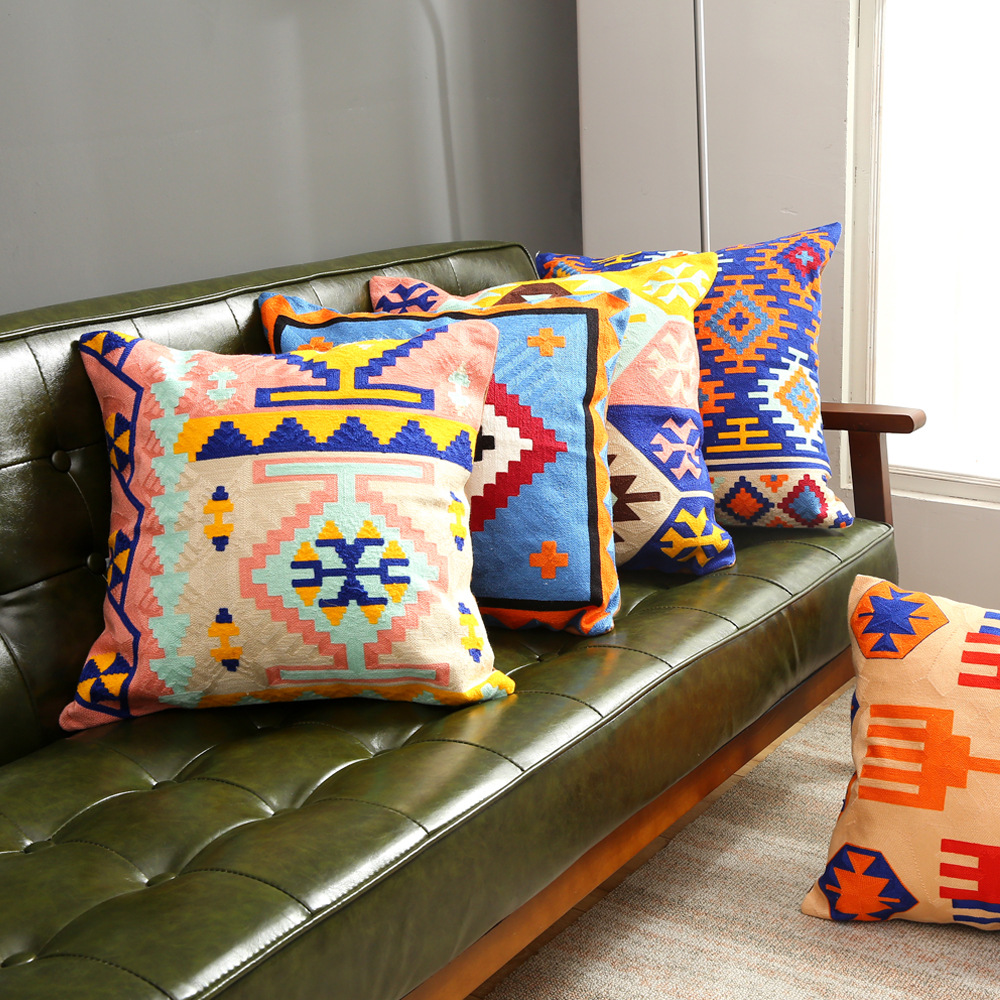 Bohemian color geometric cotton embroidered sofa cushion set Mediterranean wool embroidery home hug pillowcase Cushion Cover