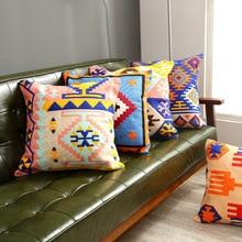 Bohemian color geometric cotton embroidered sofa cushion set