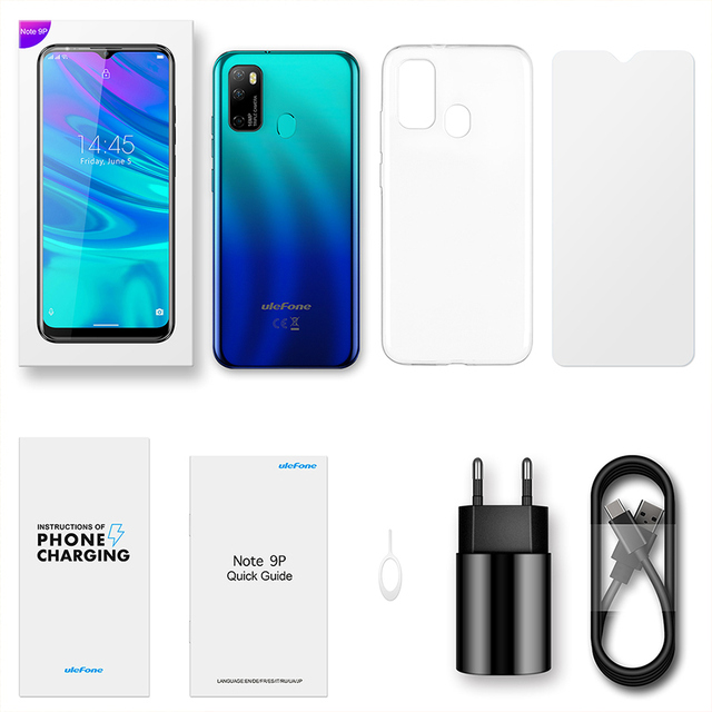 Ulefone Note 9P 6.52''HD+ Android 10 4GB 64GB 16MP Smartphone MT6762V Waterdrop Screen Octa Core 5V/2A 4G 4500mAh Mobile Phone 6