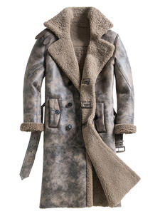 Jacket Sheepskin Shearling Winter Genuine-Leather Luxury Coat Thick Men's Casual Male
