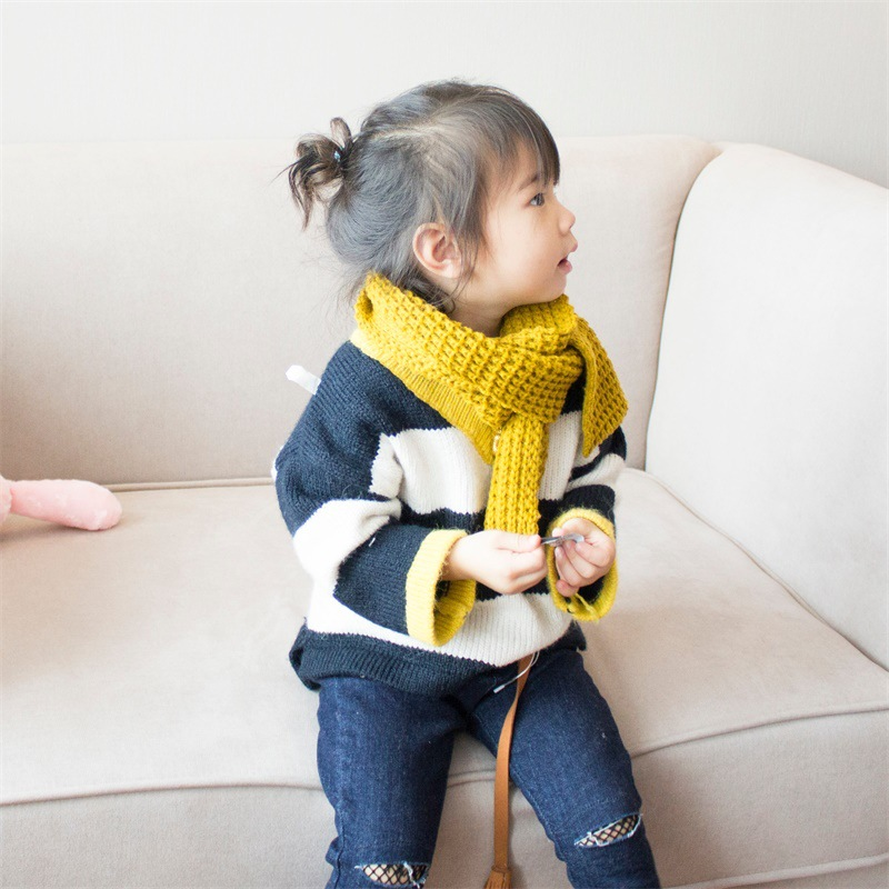 Autumn And Winter South Korea Short Knit CHILDREN'S Scarf Classic Solid Color Yarn Baby Scarf Korean-style Warm Parent And Child