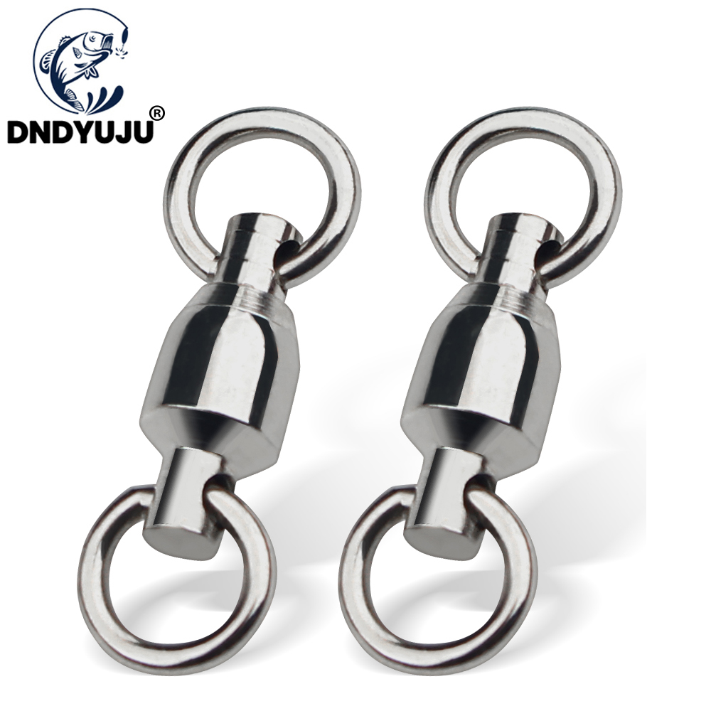 DNDYUJU 10PCS Ball Bearing Fishing Connector High Strength Rolling Swivel Stainless Steel Solid Ring Fishing Accessories