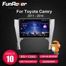 Funrover Android 10,0 DSP Carplay auto Radio Multimedia reproductor de vídeo para Toyota Camry 7 XV 50 55 2011-2014 navegador estéreo GPS