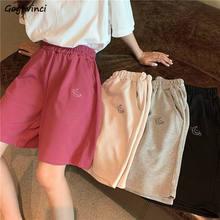 Calções femininos bordado elasticidade adorável meninas estilo coreano doce estudantes harajuku colorido simples calças de tamanho grande feminino
