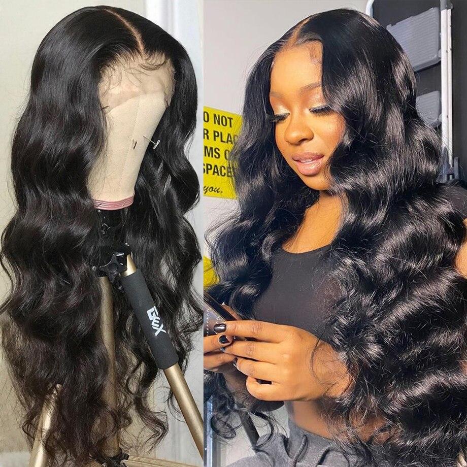 13х4 волнистый парик с фронтальным кружевом, парики из человеческих волос для черных женщин, прозрачный, предварительно выщипанный короткий ...