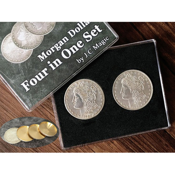 Four in One Morgan Dollar Set Magic Tricks Close Up Magia Coin Appear Vanish Magie Mentalism Illusions Gimmick Prop Accessories vanishing cole bottle empty magic tricks coke stage close up illusions accessories mentalism fun magic props classic toy gimmick