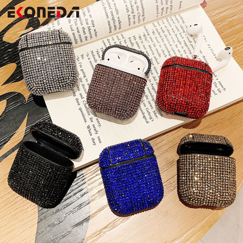 EKONEDA Luxury Bling Diamonds Case For Airpods Case Hard Girl Protective Cover For Airpods