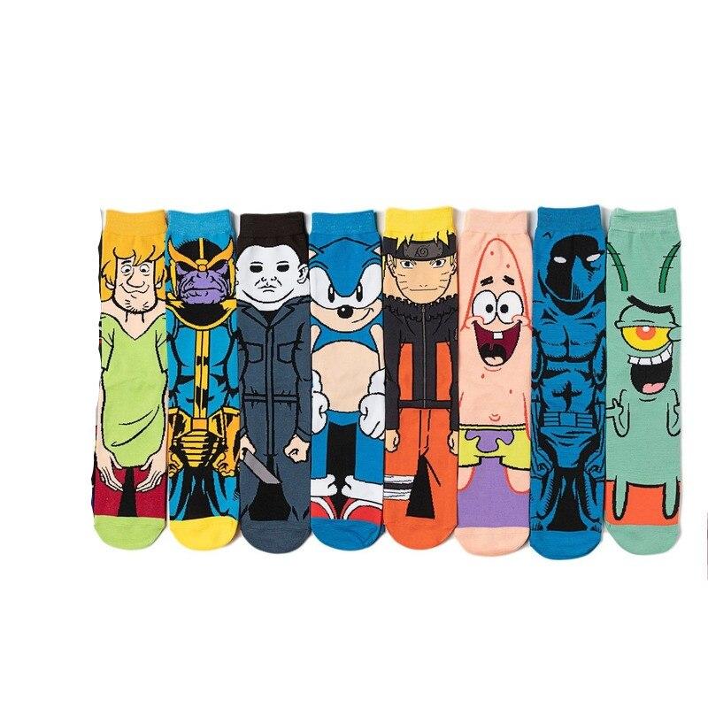Crew Socks Funny Man Cotton Mens Sox Print Soft Sock Patrick Star Sonic Cartoon Anime Men Autumn Winter Adult Calcetines Hombre