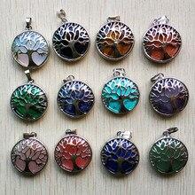 Commercio allingrosso di 12 pz/lotto di modo naturale di pietra della lega di albero della vita Pendenti con gemme e perle per gli accessori dei monili marcatura trasporto libero